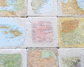 ON SALE - Natural Stone Vintage Map Coasters For Fathers Day, Anniversary Gift For Couples, Graduation Party Decorations