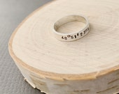Custom Coordinates Simple Band In Sterling Silver, Stacking Rings, Coordinates Ring, Latitude and Longitude Mens Ring, GPS Ring, Anniversary
