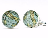 Rome Italy Map Sterling Silver Cufflinks, Gifts For Husband