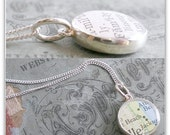 Solid Sterling Silver Double Sided Dainty Vintage Map Necklace.  You Select two Journeys.  Graduation Gift for Her