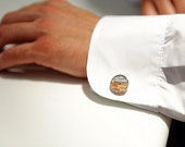 Made to Order Vintage Map Sterling Silver Round Cufflinks. You Select the Journey.