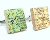 You Select Vintage Map Scrabble Tile Cufflinks as featured on Parents.com, Gifts For Men