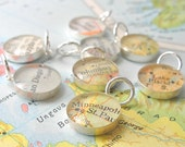 SALE- Sterling Silver Map Charm by DLK Designs, groom to bride gift wedding day