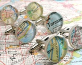 SALE- Made to Order Vintage Map Sterling Silver Round Cufflinks. You Select the Journey.