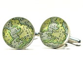 Sterling Silver London UK Antique Map Cufflinks, Gifts For Men