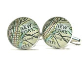 Sterling Silver NYC Antique Map Cufflinks