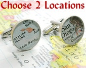 Personalized Fathers Gifts Sterling Silver Custom Map Cufflinks, gifts for men, gifts for dad, Christmas Gifts For Boyfriend