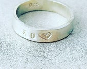 Stack, Stacking, Layering XO Heart Handmade Ring, Valentines Day Gift For her