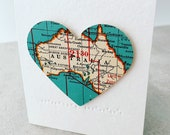 Australia Teeny Tiny Vintage Map Heart, valentines day decor, valentines gift for him, valentine decor, travel gift, where we meant, love