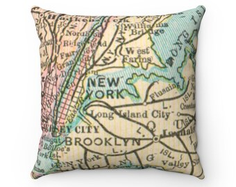 NYC Spun Polyester Square Pillow, Map Gifts, Travel Gifts