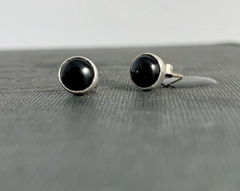 Night Sky Black Onyx Studs in Solid Sterling Silver