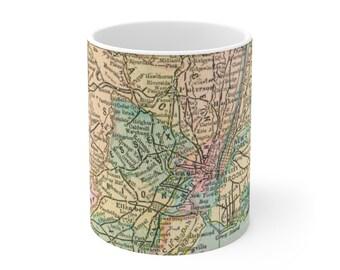 New York City Antique Map Ceramic Mug 11oz