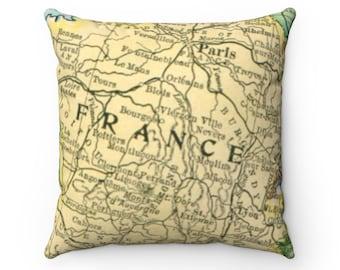 Paris Antique Map Spun Polyester Square Pillow