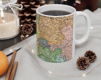 Paris France Antique Map Ceramic Mug 11oz, Travel Gift