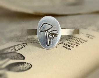 Fantasy Mushroom Ring - Handmade in Solid Sterling Silver