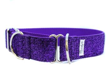 Wide 1 1/2 inch Adjustable Buckle or Martingale Dog Collar in Dark Purple Glitter