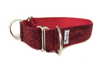 Wide 1 1/2 inch Adjustable Buckle or Martingale Dog Collar in Red Glitter