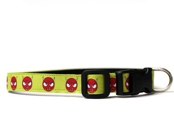 5/8 or 3/4 Inch Wide Dog Collar with Adjustable Buckle or Martingale in Devils an Exclusive Design