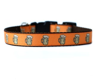 5/8 or 3/4 Inch Wide Dog Collar with Adjustable Buckle or Martingale in Beer an Exclusive Design