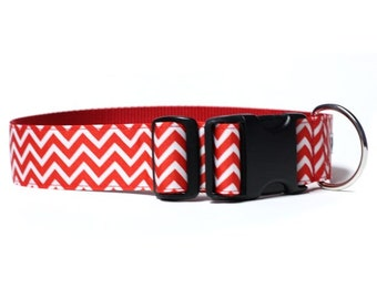 Wide 1 1/2 inch Adjustable Buckle or Martingale Dog Collar in Love Chevron
