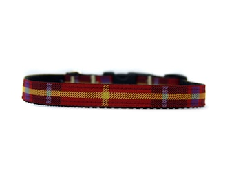 5/8 or 3/4 Inch Wide Dog Collar with Adjustable Buckle or Martingale in Holiday Plaid