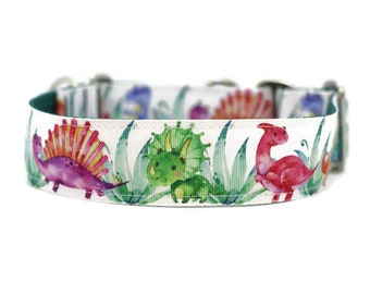 Wide 1 1/2 inch Adjustable Buckle or Martingale Dog Collar in Dinosaurs