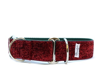 Wide 1 1/2 inch Adjustable Buckle or Martingale Dog Collar in Red and Green Glitter