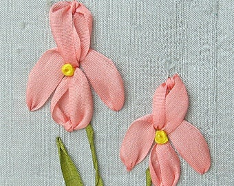 Iris PDF pattern and instructions for silk ribbon embroidery, DIY silk ribbon embroidery
