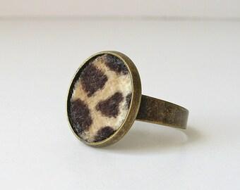 Animal print ring, velvet statement ring, jungle cat faux fur jewelry