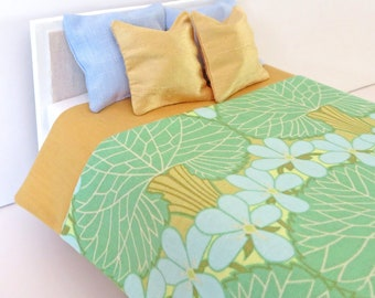 Green and gold dollhouse bedspread, 1:12th scale dollhouse bedding