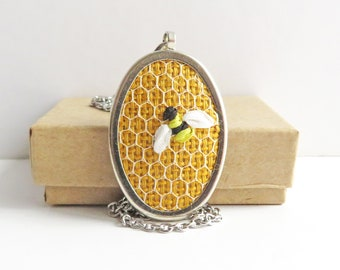Honeybee necklace, small oval pendant, embroidered jewelry, bee necklace, bumblebee pendant, silk ribbon embroidery, insect jewelry