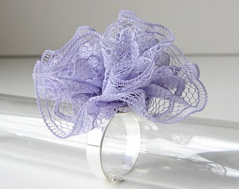 Lace ring in pastel purple, lavender lace ring, unique statement ring, bridesmaid's gift