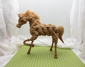 The Mare.  One of a kind vintage twine or hemp rope horse figurine