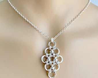 Sterling Silver Chainmaille Diamond Pendant on Rolo Necklace