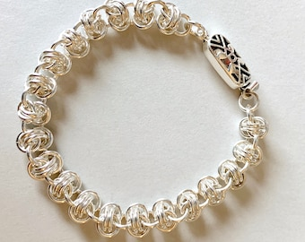 Silver Chainmail Barrel Weave Bracelet-Chunky Silver Chainmaille Bracelet