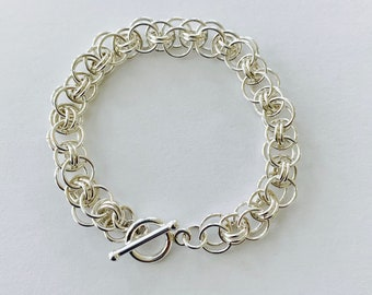 Silver Filled Chainmail Bracelet - Helm Weave Chainmaille Bracelet - Silver Link Bracelet