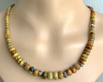Golden Agate Graduated Faceted Bead Necklace