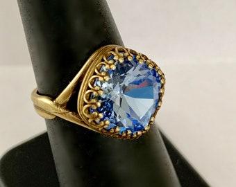 Swarovski crystal ring- Light Sapphire Antique Brass plated adjustable ring -Swarovski 12mm square cushion crystal ring