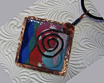 Hammered copper with enameled pastoral scene, a Neckless for dreamers.
