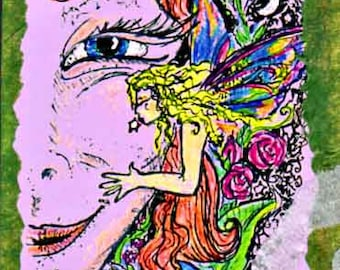 You have to receive the Gift, if you want to see Faeries.  Artist Trading Card, one of a kind collage