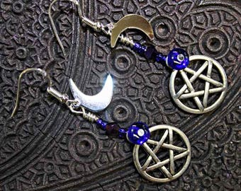 Pentagram Earrings with Moons and Stars... Wiccan Priestess, Pagan, Earth Loving Path, Ritual wear, Ceremonial.