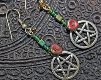 Wiccan Pentagram earrings with iridescent beads and tiny gold stars