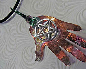 Harm None Pendant, Necklace in copper with pewter pentagram.