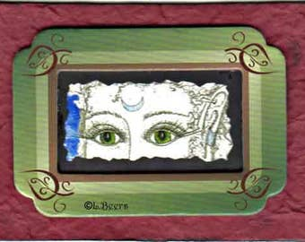 Eyes of the Goddess ... art trading card, one of a kind