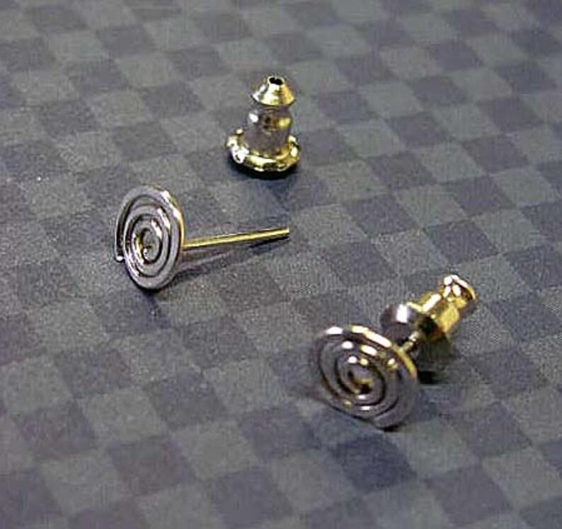 Little Spiral Twist Posts in Sterling Silver Handmade. image 0