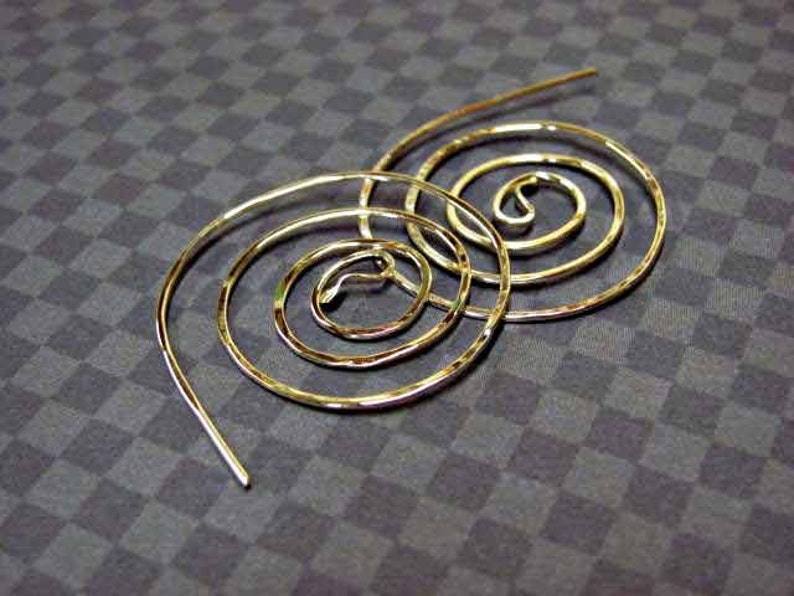 Large Twisted Spiral sterling hoop earring  Elegant and image 0