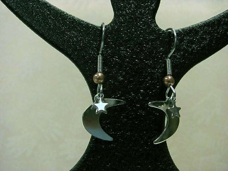 A Celestial Touch  Tiny Moon and Star Earrings image 0