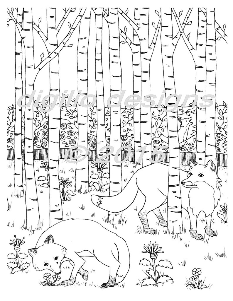 Coloriage Foret Renard.Coloriage Page Renards Dans La Foret Renard Woodland Wall Etsy