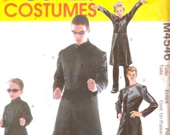 McCalls 4546 Sewing pattern kids Matrix Costume Long coat duster Gothic Mopheus Alternate worlds Sz 3 to 8 UNCUT