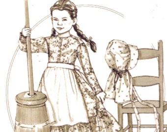 Girls Colonial dress Butterick 4509 History Sewing pattern pantaloons apron bonnet Size 7 8 10 UNCUT